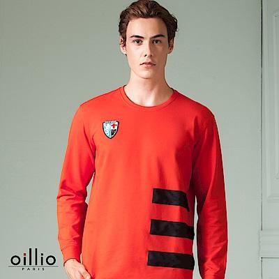 歐洲貴族 oillio 長袖T恤 三橫條款式 品牌繡標 紅色