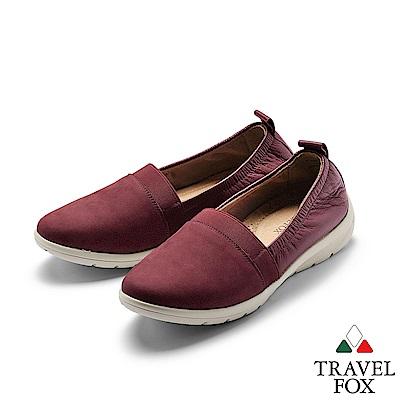 TRAVEL FOX(女) 我型我素 時尚三角雙料舒適減壓休閒鞋 -硃顏紅