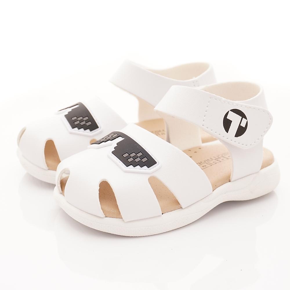 TOPUONE童鞋 皮革護趾涼鞋款 SI19502白(小童段)