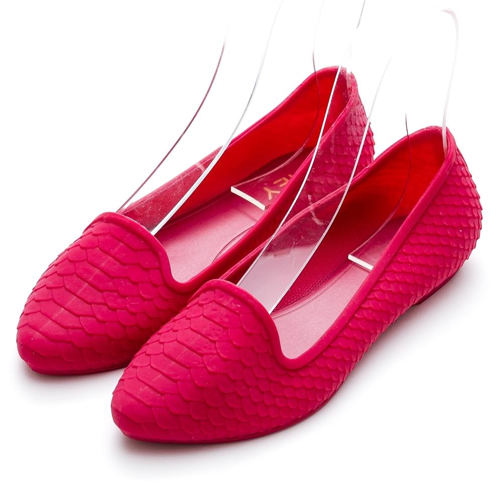 River&Moon防水鞋 晴雨二穿超Q軟幾何皮紋樂福鞋 紅