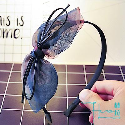 Hera 赫拉-簡約氣質 皮質蝴蝶結絹紗髮箍