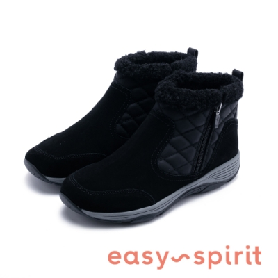 Easy Spirit seVINE 經典菱格壓紋潮流休閒加絨短靴-黑色