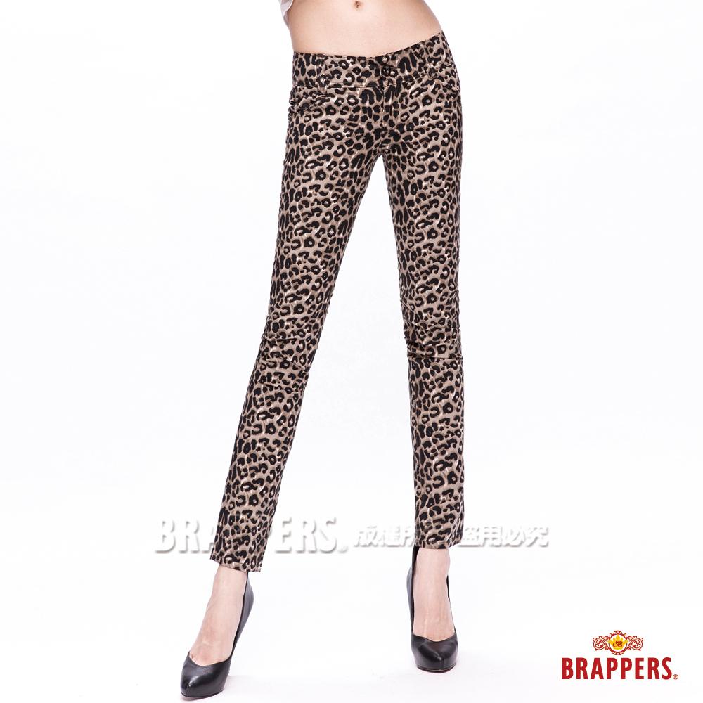 BRAPPERS 女款 新美尻系列-女用中腰彈性九分褲-豹紋
