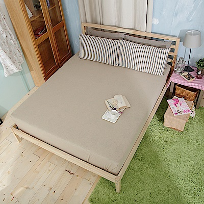 Saint Rose 品味空間-杏 100%純棉針織雙人床包一入
