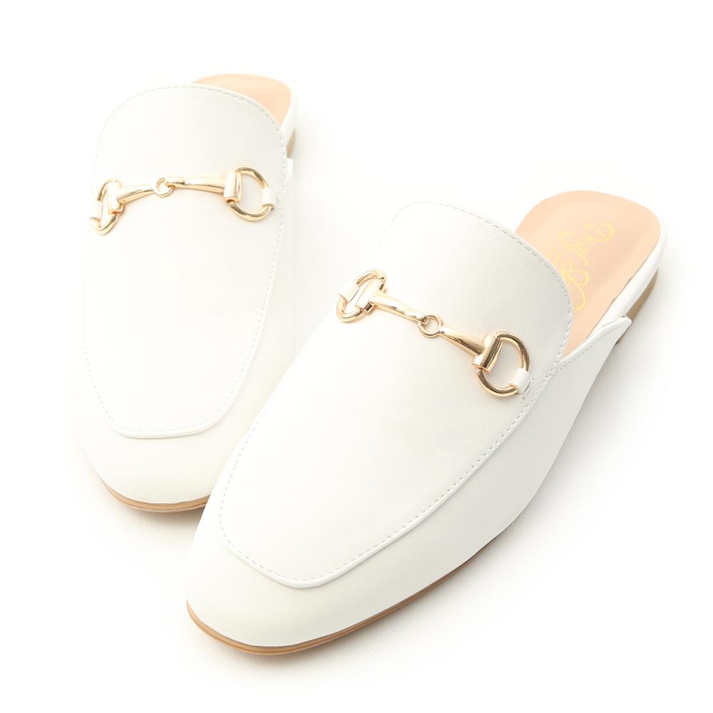 D+AF 經典潮流.質感馬銜釦平底穆勒鞋*白