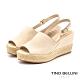 Tino Bellini巴西進口蛇紋魚口麻編楔型涼鞋_米白 product thumbnail 1