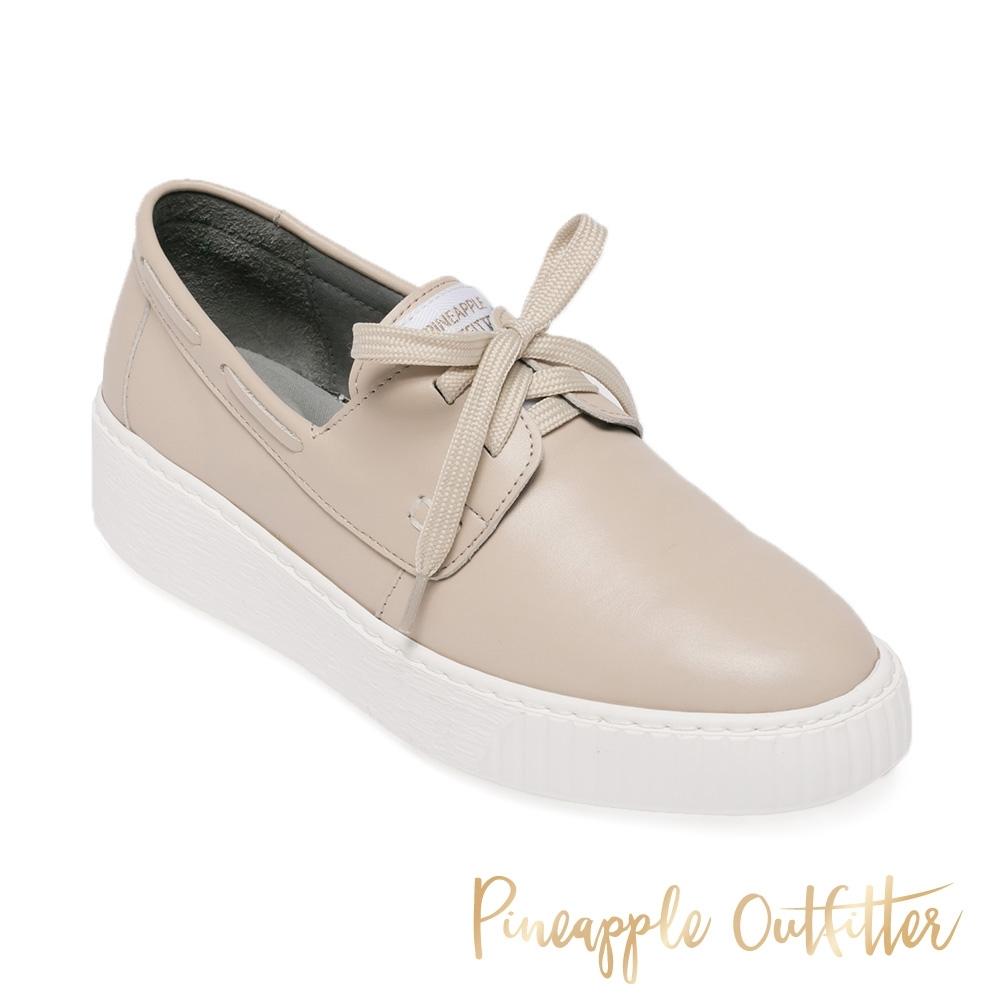 Pineapple Outfitter-CIANNA 簡約真皮柔軟綁帶平底鞋-杏粉色