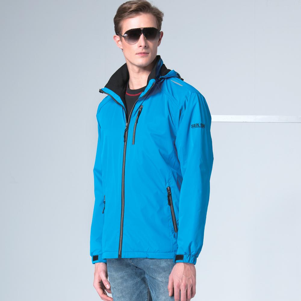聖手牌 外套 藍色系刷毛運動休閒連帽外套