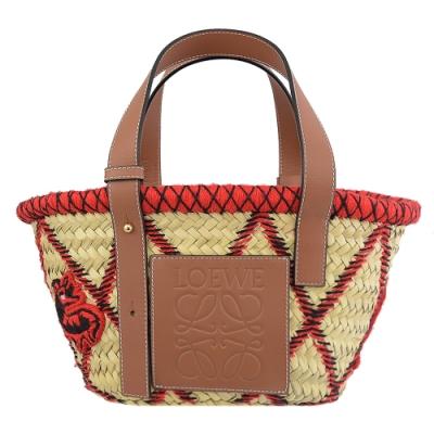 LOEWE Basket 皮革大LOGO菱格縫線時尚草編包(小)
