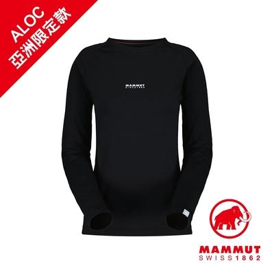 【Mammut 長毛象】QD Logo Print Longsleeve T-Shirt AF W 快乾LOGO長袖T恤 黑色PRT1 女款 #1016-01040