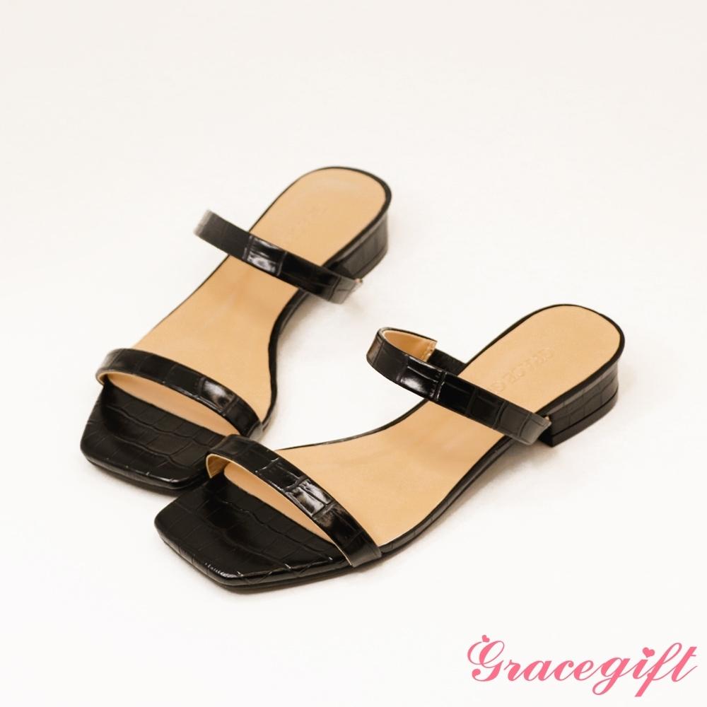 Grace gift-一字雙細帶低跟涼拖鞋 黑壓紋
