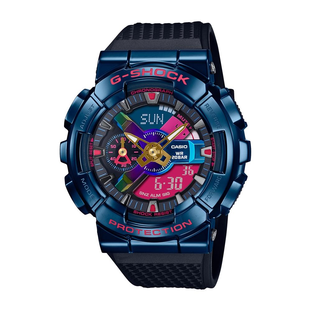 CASIO卡西歐 G-SHOCK 全金屬外殼 都會夜景 多彩錶盤 暗夜藍 GM-110SN-2A_48.8mm