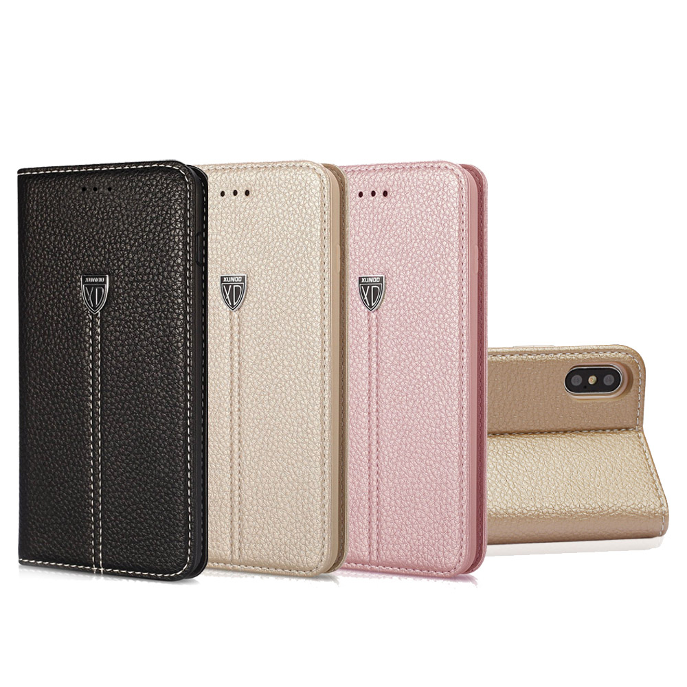 XUNDD iPhone Xs / X 5.8吋 奢華皮革支架磁力皮套(含卡層) product image 1