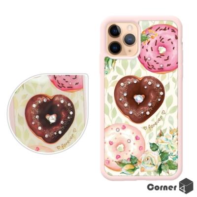Corner4 iPhone 11 Pro Max 6.5吋奧地利彩鑽雙料手機殼-永遠甜甜圈