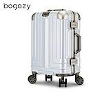 Bogazy 權傾皇者 20吋菱格紋鋁框行李箱(尊爵白)