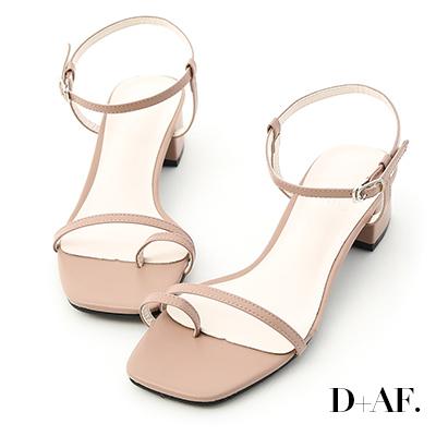 D+AF 繽紛涼夏.一字套指細帶中跟涼鞋*粉