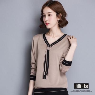 JILLI-KO 造型V領針織上衣- 卡其/黑