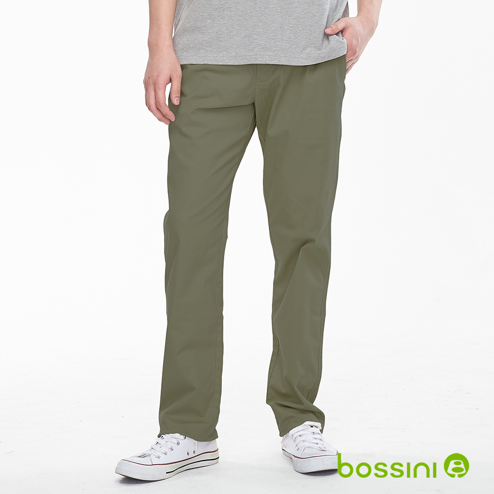 bossini男裝-修身卡其長褲01軍綠