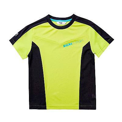 FILA KIDS 童抗UV吸濕排汗上衣-黃綠 1TET-4306-LM