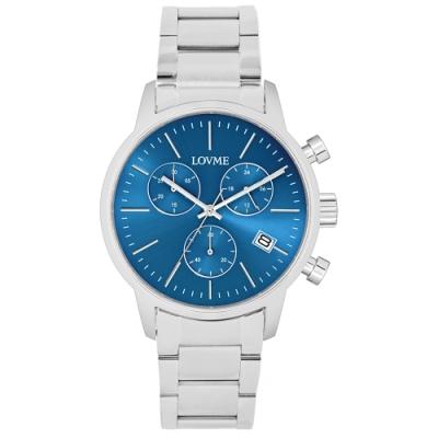 LOVME 城市獵人不鏽鋼三眼時尚手錶-藍/43mm