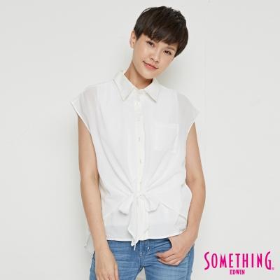 SOMETHING 異材質拼接雙層造型襯衫-女-白色