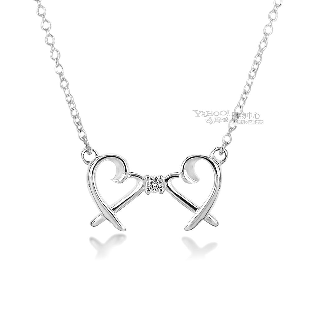 Tiffany&Co. 心心相印鑲鑽石925純銀項鍊 @ Y!購物