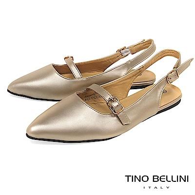 Tino Bellini 都會質感優雅雙釦帶平底鞋 _ 香檳金