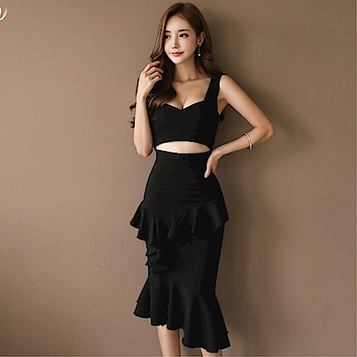 DABI 韓版OL氣質吊帶上衣荷葉邊修身包臀裙套裝無袖裙裝