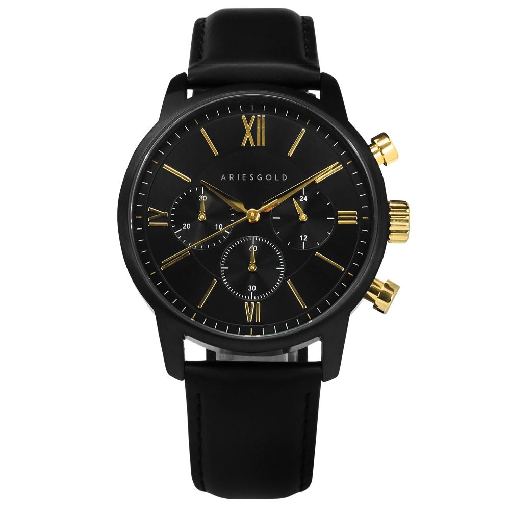 ARIES GOLD 三眼 計時碼錶 羅馬時標 藍寶石水晶玻璃 真皮手錶-黑色/43mm