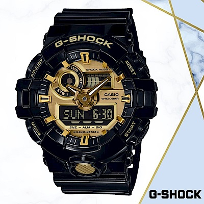 CASIO卡西歐G-SHOCK經典黑金潮流錶(GA-710GB-1A)黑色/54MM