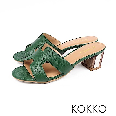 KOKKO - 浮華世界H形彩畫粗跟真皮拖鞋 - 綠寶石