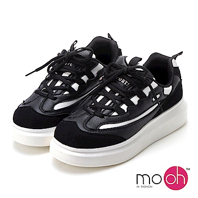 mo.oh-透氣拚色厚底增高運動鞋-黑色