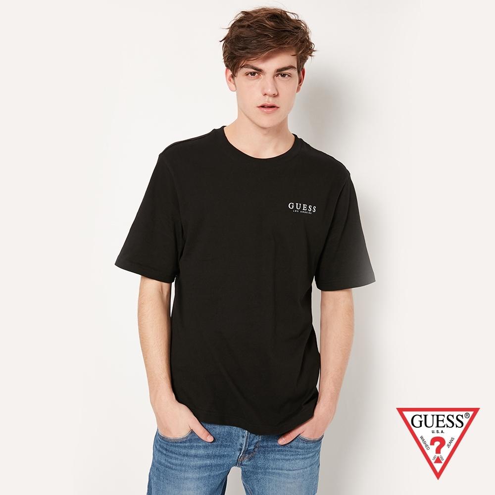 GUESS-男裝-純色背部經典雙LOGO短T,T恤-黑 原價1290