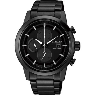 CITIZEN 星辰 Eco-Drive 光動能現代計時碼錶-黑/ 43mm(CA0615-59F)