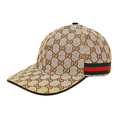 GUCCI經典雙G LOGO緹花布綠紅織帶設計魔鬼氈棒球帽(米咖啡)
