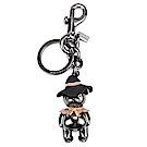 COACH 可愛3D立體Scarecrow Bear 熊熊金屬鑰匙圈-銀黑色