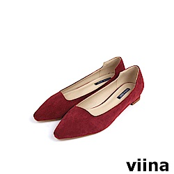 viina Basic 素面尖頭特殊剪裁低跟鞋 - 紅