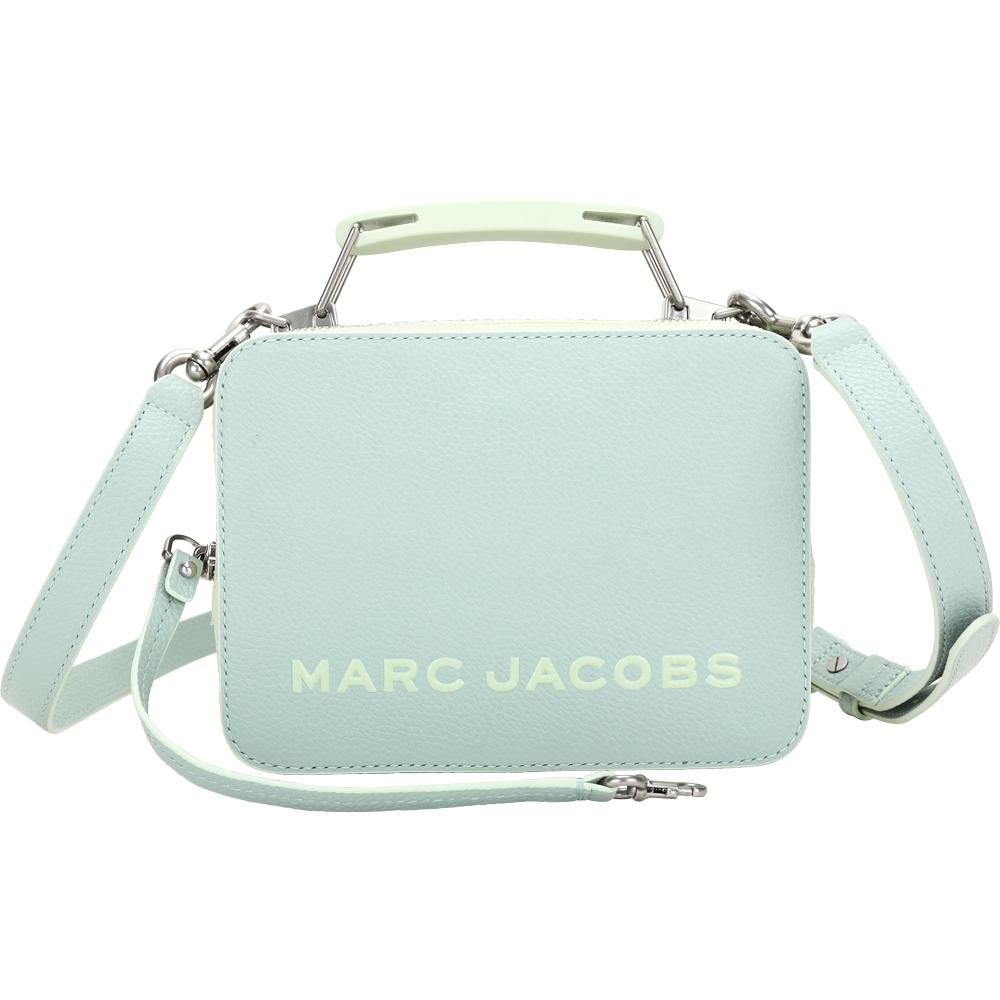 MARC JACOBS THE BOX 20 仿舊銀雙拉鍊拚色牛皮手提/肩背包(薄荷綠)