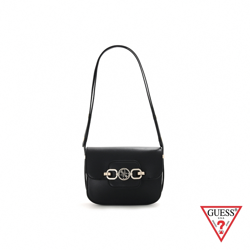 GUESS-女包-都會時尚純色飾扣圓角肩背包-黑 原價2690