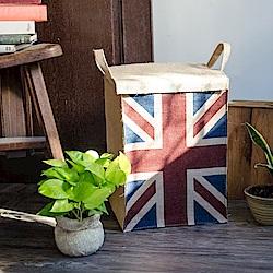 【收納職人】美式復古LOFT工業風英國國旗附蓋黃麻收納