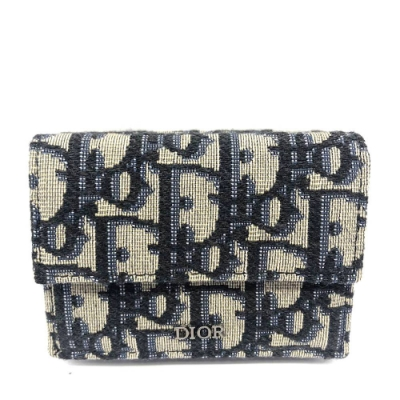 Dior Saddle系列經典OBLIQUE緹花布迷你三摺短夾(藍色)