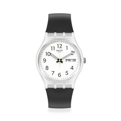 SWATCH Gent 原創系列手錶RINSE REPEAT BLACK 經典黑(34mm)