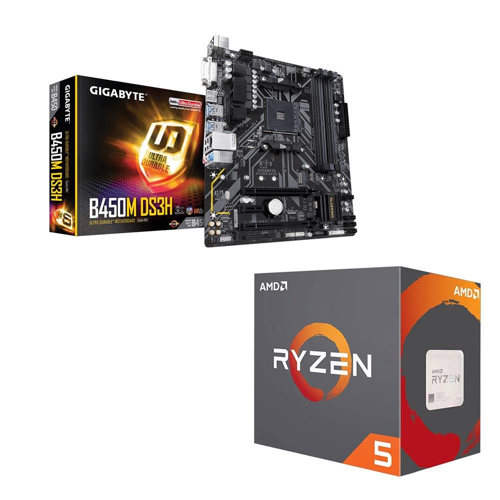 AMD Ryzen5 2400G+技嘉B450M-DS3H 超值組