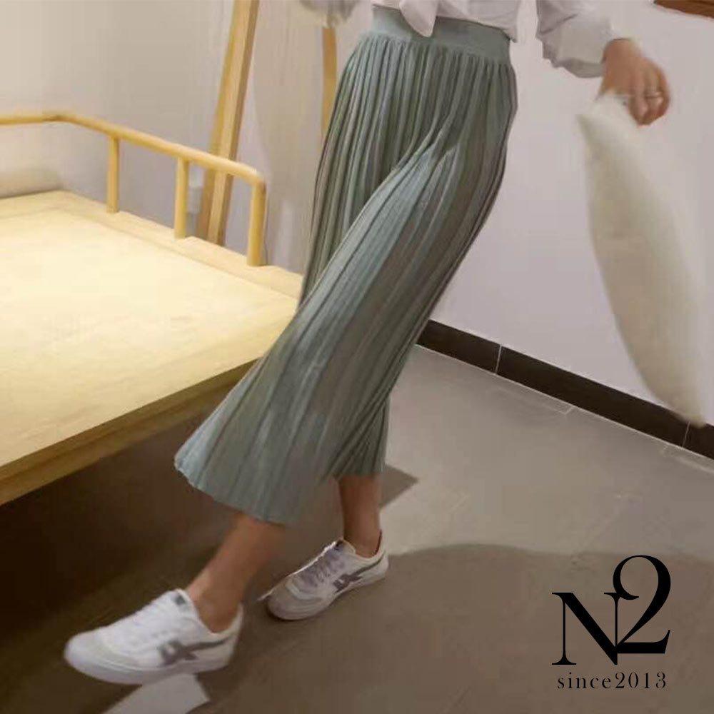 下著 金屬混色素面薄針織彈性百褶長裙 (綠) N2
