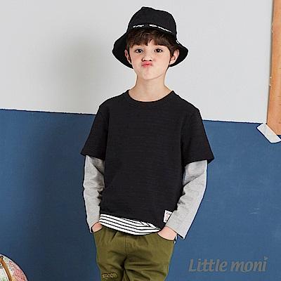 Little moni 圓領拼接假兩件T恤(共2色)