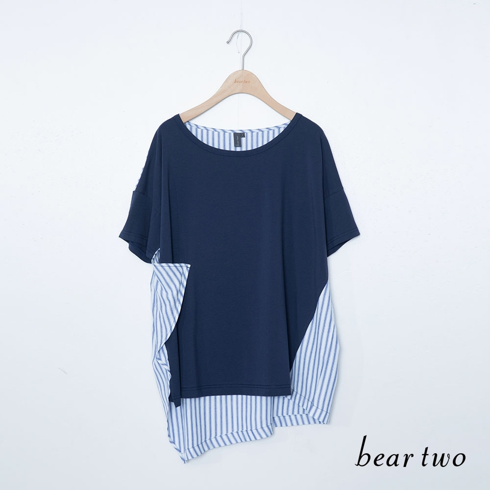 beartwo-條紋不對稱長上衣-藍