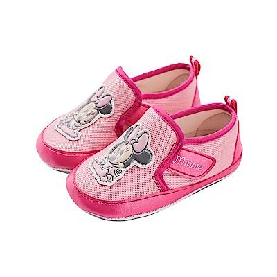 迪士尼 米妮 可愛baby造型 魔鬼氈寶寶鞋-粉