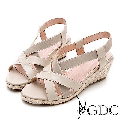 GDC-氣質淑女真皮交叉楔型涼鞋-卡其色