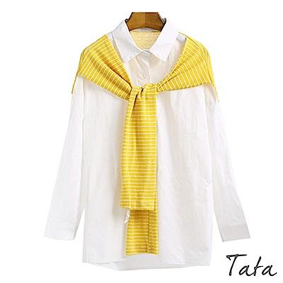 條紋假兩件披肩襯衫 共二色 TATA