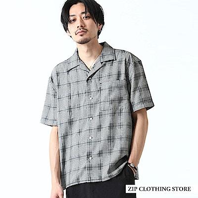 寬版開領襯衫短袖格紋(2色) ZIP日本男裝
